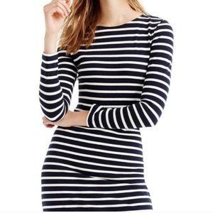 J. Crew Striped Long Sleeve Sheath Midi Dress